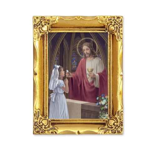 Communion Girl Square Framed Print | Antique Gold Frame
