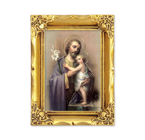 St. Joseph Square Framed Print | Antique Gold Frame | Style A