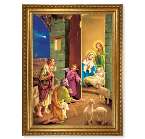 "Nativity Antique Gold-Leaf Framed Art | 19"" x 27"""