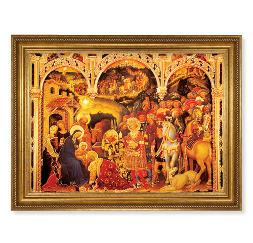 "Adoration of the Magi Antique Gold-Leaf Framed Art | 19"" x 27"""