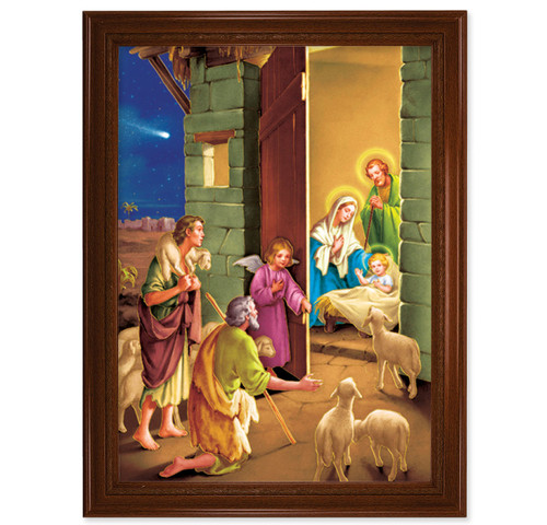 "Nativity Walnut Finish Framed Art | 19"" x 27"""