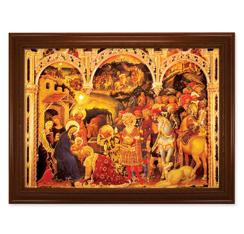 "Adoration of the Magi Walnut Finish Framed Art | 19"" x 27"""