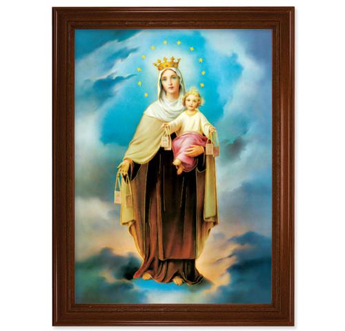 "Our Lady of Mount Carmel Walnut Finish Framed Art | 19"" x 27"""