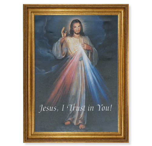 "Divine Mercy Gold Wood Framed Canvas Art | 19"" x 27"""