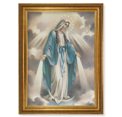 """Our Lady of Grace Gold Wood Framed Canvas Art   19"""" x 27"""""""