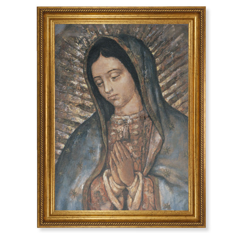 """Our Lady of Guadalupe Gold Wood Framed Canvas Art   19"""" x 27"""""""
