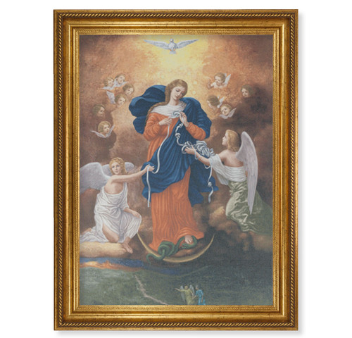 """Our Lady Untier of Knots Gold Wood Framed Canvas Art   19"""" x 27"""""""