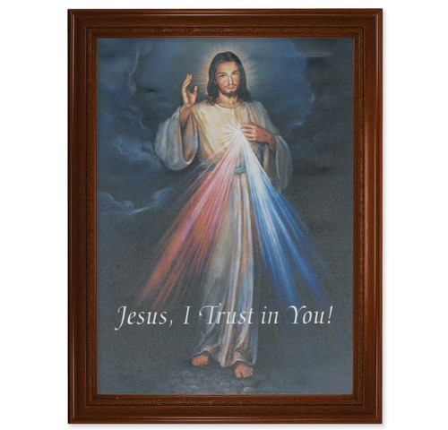 "Divine Mercy Walnut Finish Framed Canvas Art | 19"" x 27"""