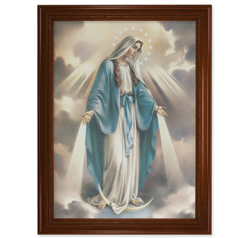 """Our Lady of Grace Walnut Finish Framed Canvas Art   19"""" x 27"""""""