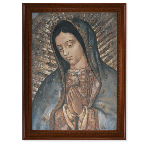 """Our Lady of Guadalupe Walnut Finish Framed Canvas Art   19"""" x 27"""""""