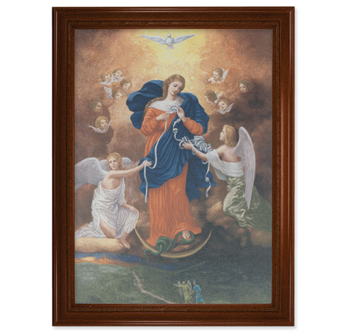 """Our Lady Untier of Knots Walnut Finish Framed Canvas Art   19"""" x 27"""""""