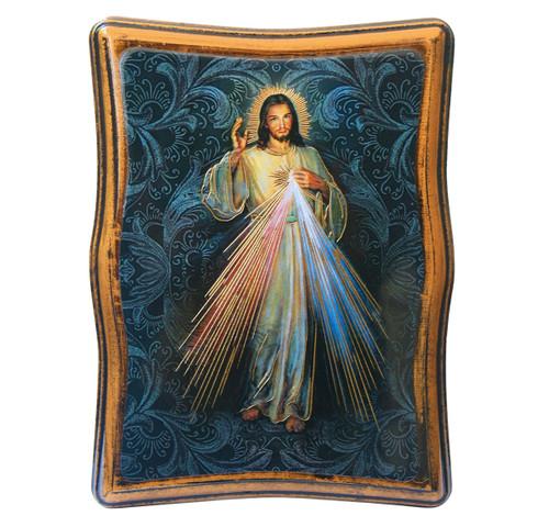 "Divine Mercy Antiqued Wood Plaque | Rectangle 4"" x 5"""