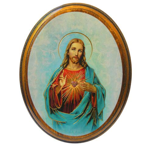 "Sacred Heart of Jesus Antiqued Wood Plaque   Oval  4"" x 5"""