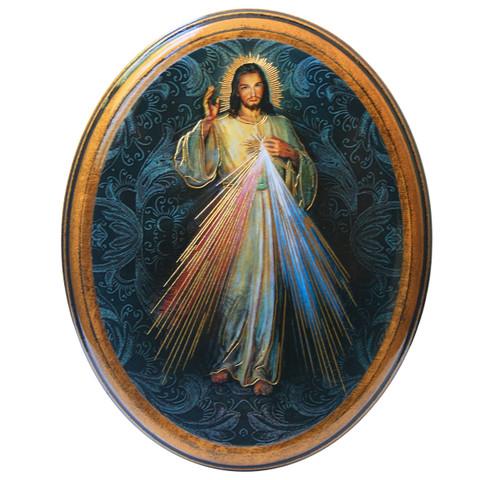 "Divine Mercy Antiqued Wood Plaque | Oval  4"" x 5"""