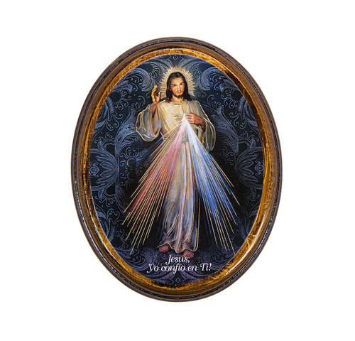 "Divine Mercy (Spanish) Antiqued Wood Plaque | Oval  4"" x 5"""