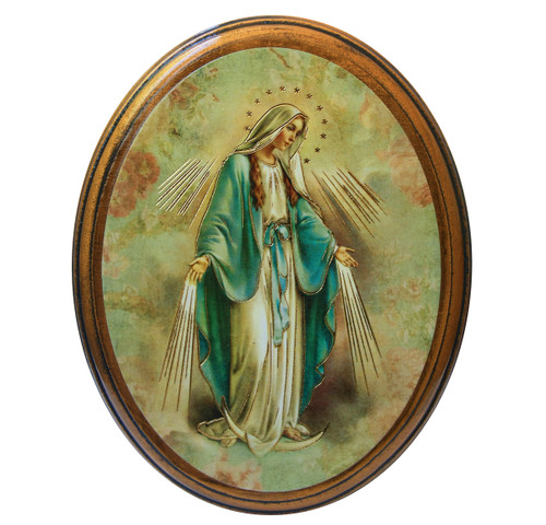 """Our Lady of Grace Antiqued Wood Plaque   Oval  4"""" x 5"""""""