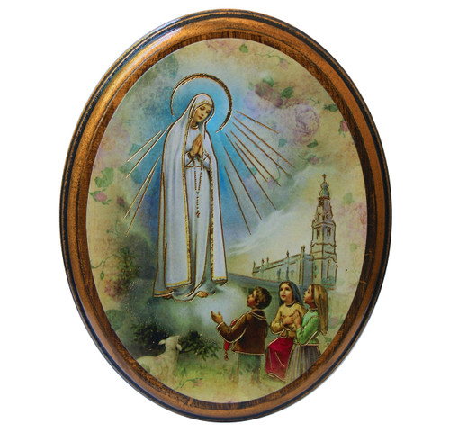 """Our Lady of Fatima Antiqued Wood Plaque   Oval  4"""" x 5"""""""