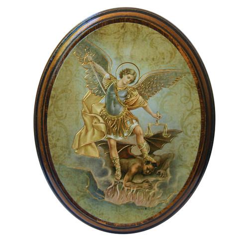 "St. Michael Antiqued Wood Plaque   Oval  4"" x 5"""