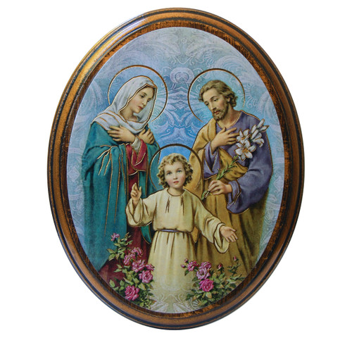 """Holy Family Antiqued Wood Plaque 