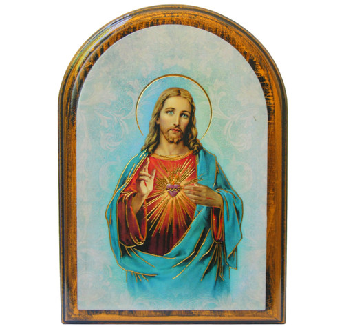 """Sacred Heart of Jesus Antiqued Wood Plaque   Arch  4"""" x 5"""""""