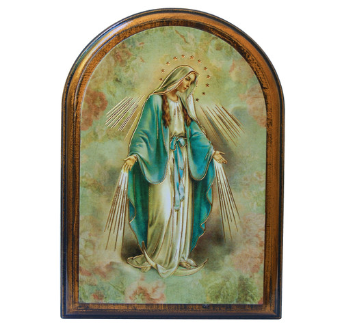 """Our Lady of Grace Antiqued Wood Plaque   Arch  4"""" x 5"""""""