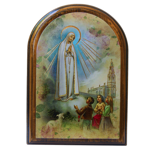 """Our Lady of Fatima Antiqued Wood Plaque   Arch  4"""" x 5"""""""