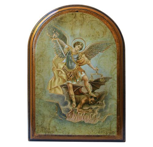 """St. Michael Antiqued Wood Plaque   Arch  4"""" x 5"""""""