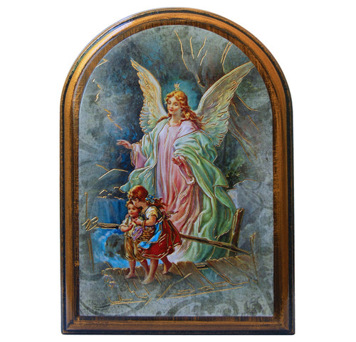 """Guardian Angel Antiqued Wood Plaque 
