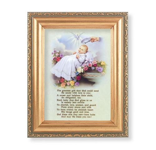 """Baby Baptism Antique Gold Framed Art   4"""" x 5.5"""""""