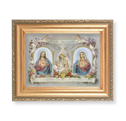 """Baby Room Blessing - SHJ-IHM Antique Gold Framed Art   4"""" x 5.5"""""""