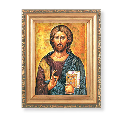 "Christ All Knowing Antique Gold Framed Art | 4"" x 5.5"""