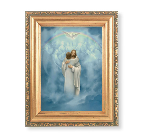 "Christ Welcoming Home Antique Gold Framed Art   4"" x 5.5"""