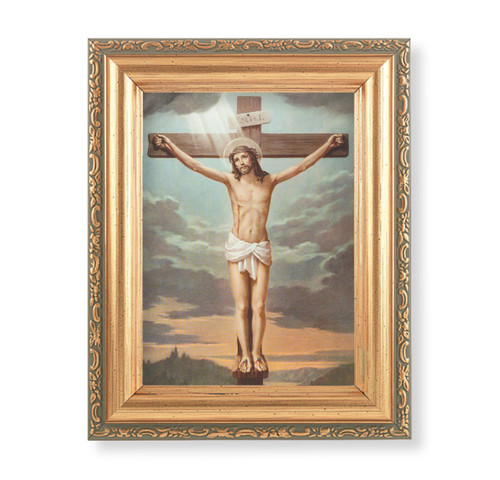 "Crucifixion Antique Gold Framed Art | 4"" x 5.5"""