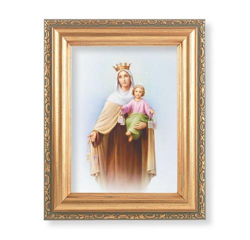 "Our Lady of Mount Carmel Antique Gold Framed Art | 4"" x 5.5"""