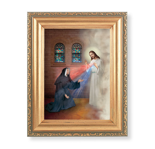 """St. Faustina with Divine Mercy Antique Gold Framed Art 