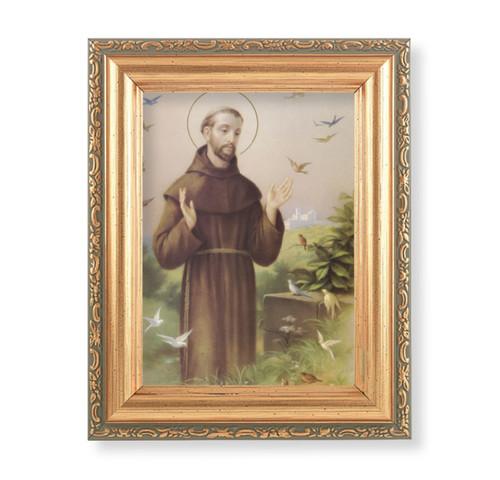 "St. Francis Antique Gold Framed Art | 4"" x 5.5"""