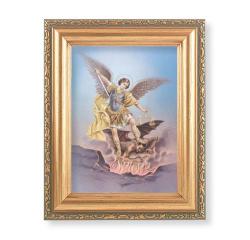 "St. Michael Antique Gold Framed Art | 4"" x 5.5"""