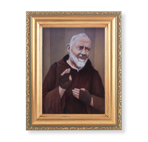 "St. Pio Antique Gold Framed Art | 4"" x 5.5"""