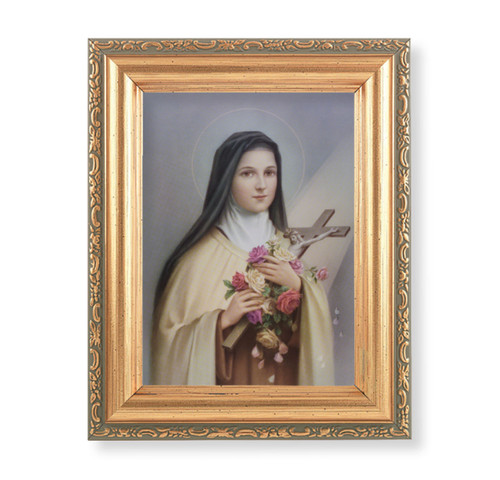 """St. Therese Antique Gold Framed Art 