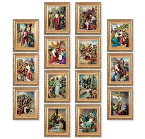 """Stations of the Cross Antique Gold Framed Canvas   4"""" x 5.5"""""""