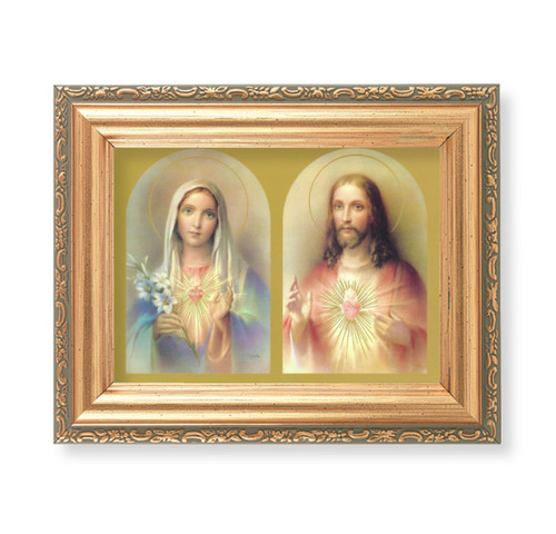 """The Sacred Hearts Antique Gold Framed Art 
