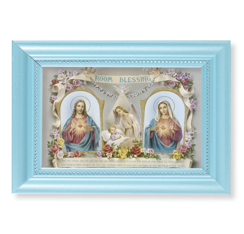 "Baby Room Blessing Pearlized Blue Framed Art | 4"" x 6"""