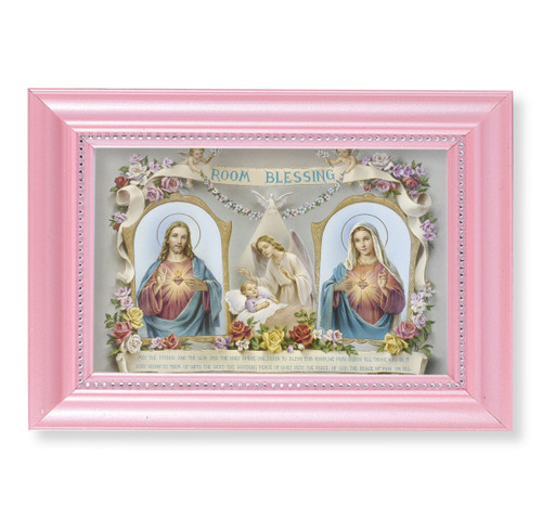 "Baby Room Blessing Pearlized Pink Framed Art | 4"" x 6"""