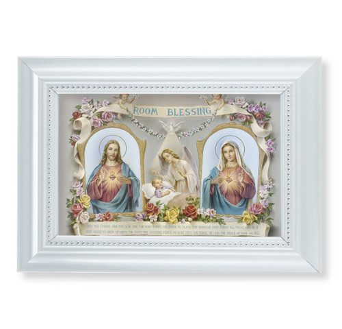 "Baby Room Blessing Pearlized White Framed Art | 4"" x 6"""