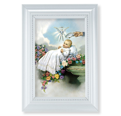 "Baptism Pearlized White Framed Art | 4"" x 6"""