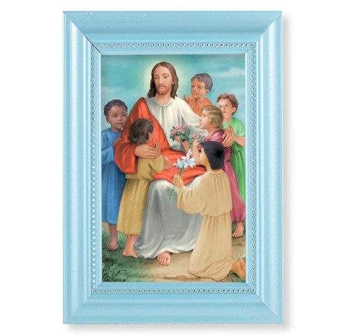 "Christ with Children Pearlized Blue Framed Art | 4"" x 6"""