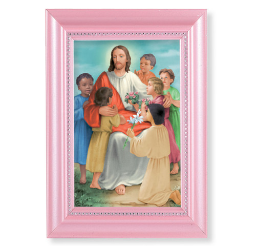 "Christ with Children Pearlized Pink Framed Art | 4"" x 6"""