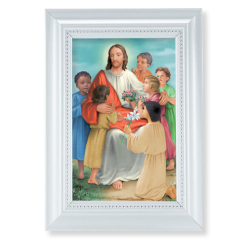 "Christ with Children Pearlized White Framed Art | 4"" x 6"""
