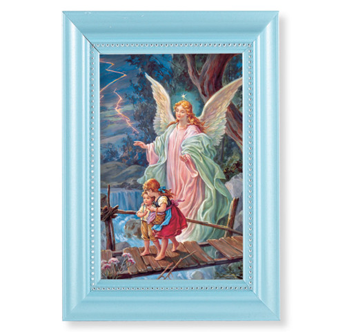 "Guardian Angel Pearlized Blue Framed Art | Style A | 4"" x 6"""