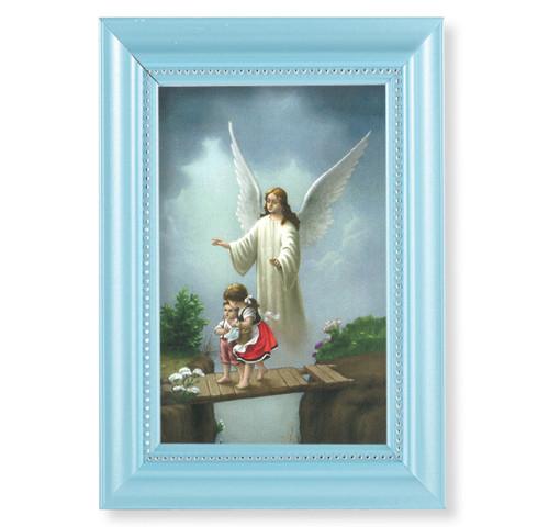 "Guardian Angel Pearlized Blue Framed Art | Style B | 4"" x 6"""
